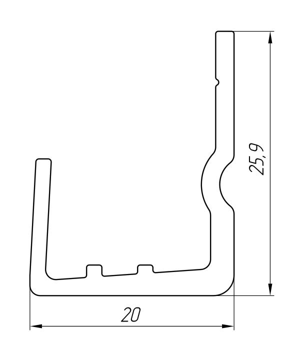 Aluminum Profile For Ventilated Facades Ат-2441 - Construction aluminum profile