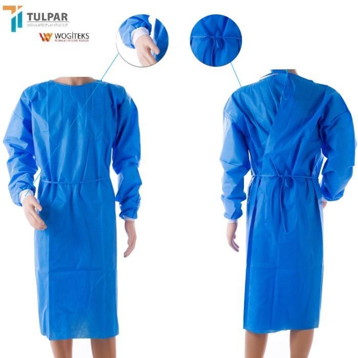 ثوب جراحي SMS يمكن التخلص منه - عباءة طبية جراحية SMS لون أزرق 30 40 55 جرام