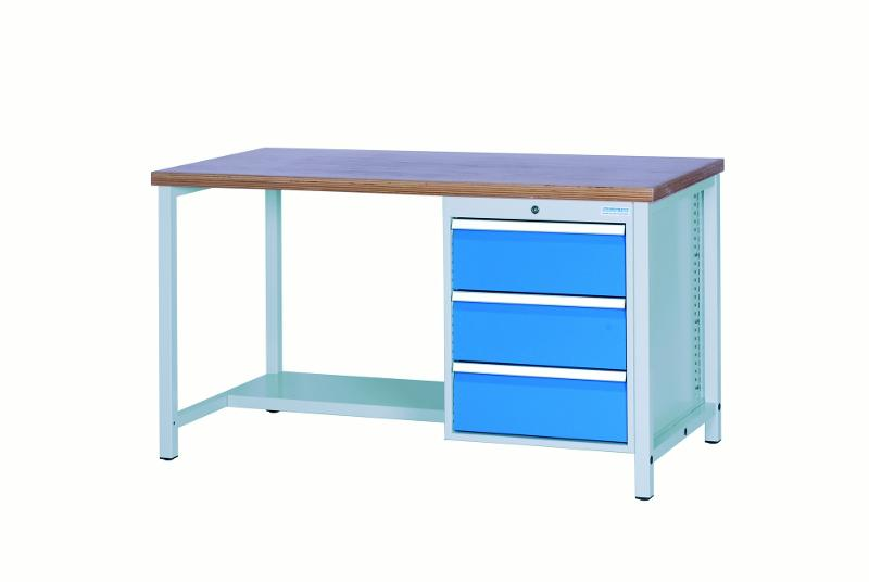 Workbench 1500 with 3 drawers front height 200mm - 03.14.14VA