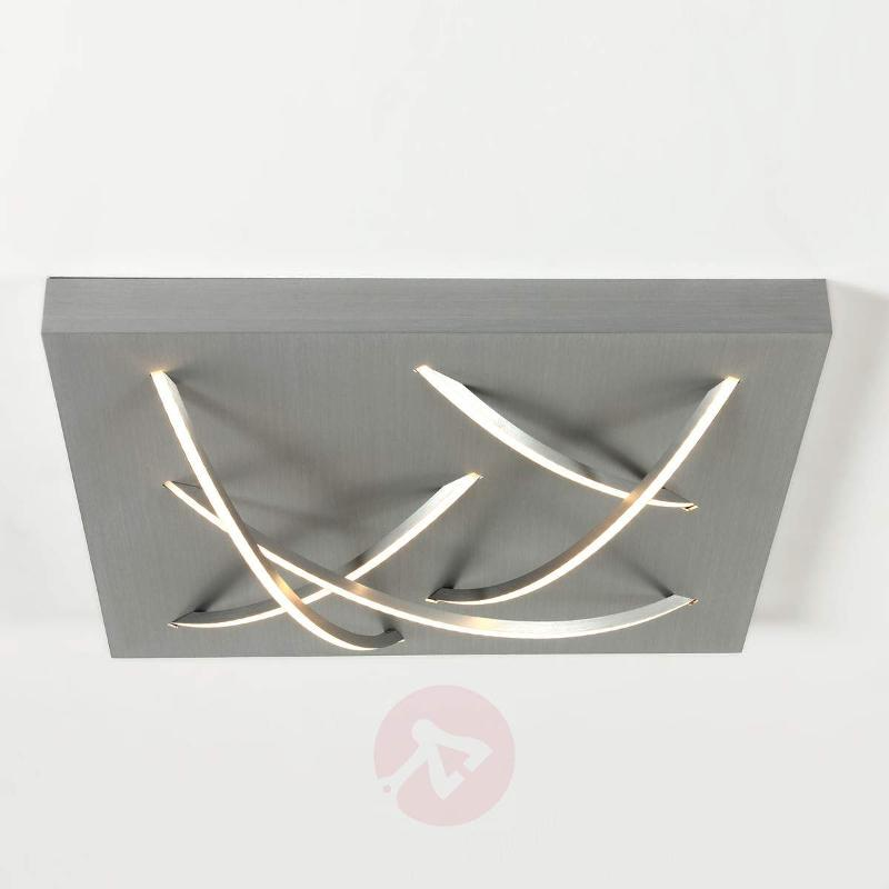 Square LED ceiling light Curved aluminium - Ceiling Lights