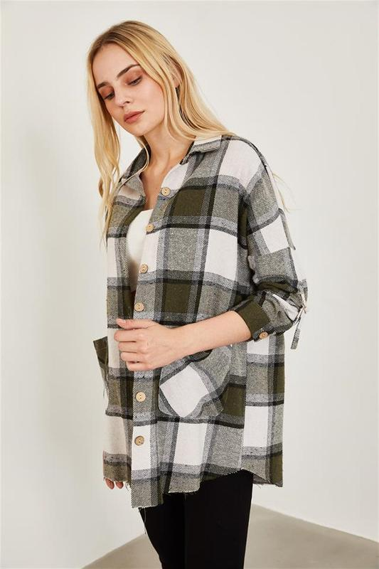 Women Khaki Plaid Pattern Shirt - Women's Shirt