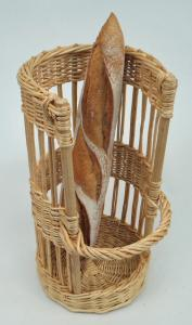 Huche à pain ronde osier blanc - null