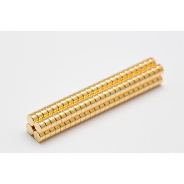 Neodymium disc magnet 4x2mm, N45, Ni-Cu-Ni-Au, Gold plated - Disc