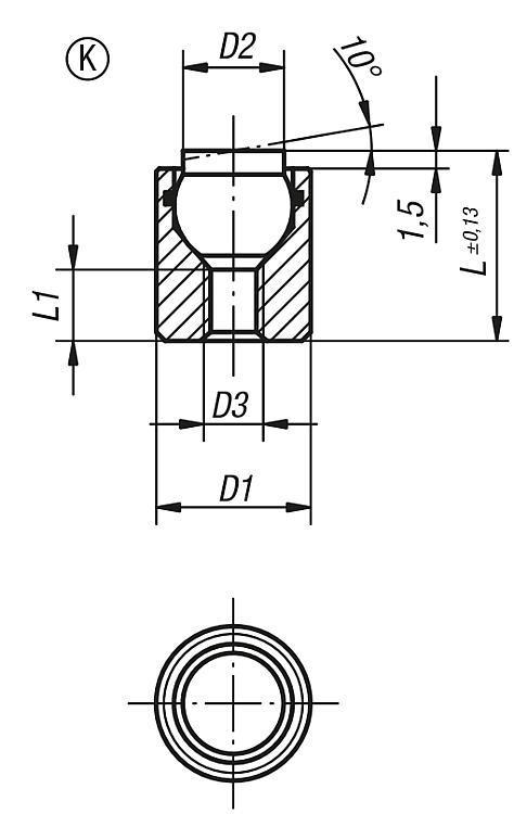 Support à bille oscillante avec joint torique intégré - Éléments d'appui et de support