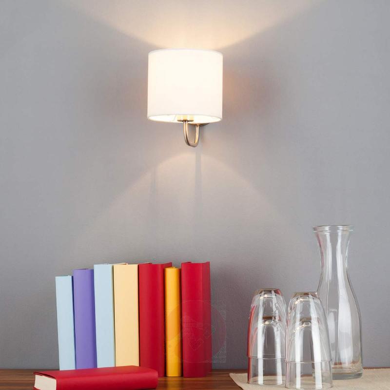 White fabric wall light Fenria with E14 LED - Wall Lights
