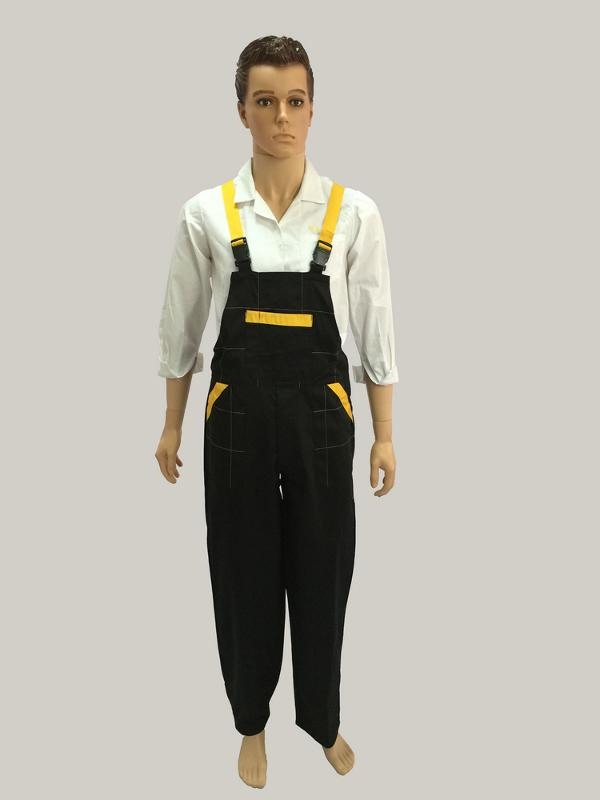 bib pant with adjustable belt  - with plastic buckle, one chest pocket and two side pockets