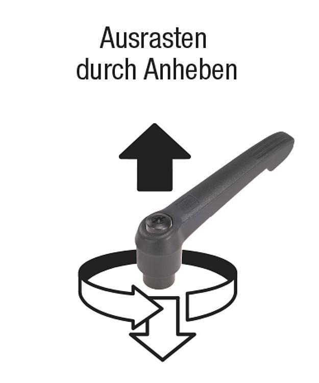 Flexibles Normteilesystem - Klemmhebel mit Außengewinde und Kunststoffgriff, Stahlteile aus...
