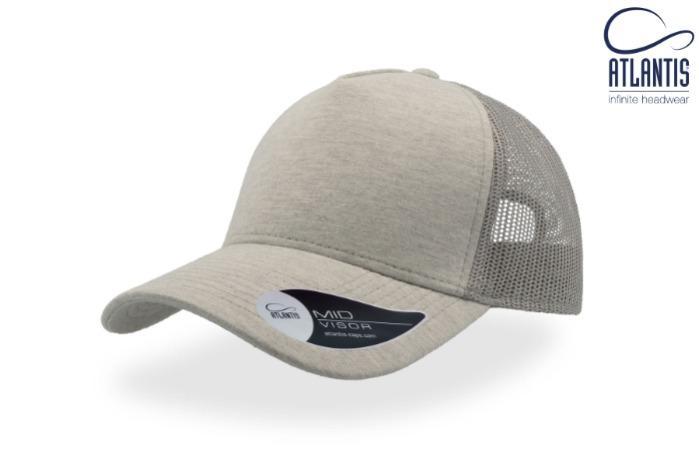 Cappello trucker rapper in tessuto felpa - Cappello trucker in stile rapper con tessuto di felpa e visiera pre curvata