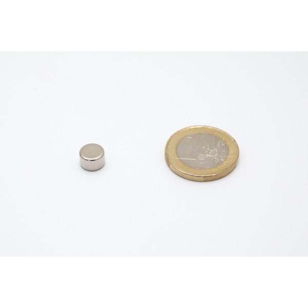 Neodymium disc magnet 8x5mm, N45, Ni-Cu-Ni, Nickel coated - Disc