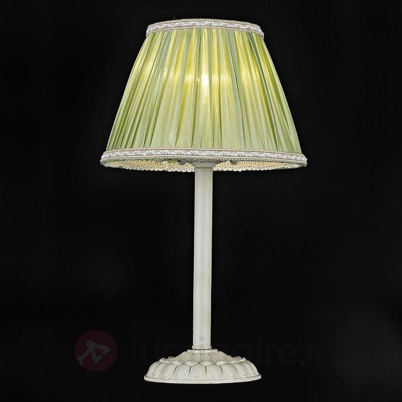 Lampe à poser Olivia avec abat-jour en satin vert - Lampes à poser en tissu