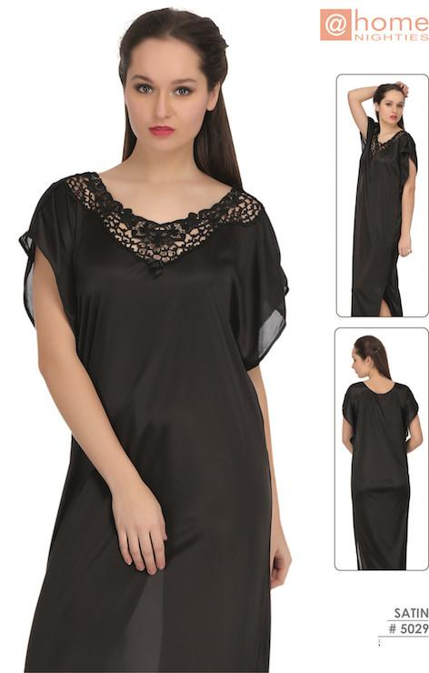 Black Satin Long Night Gown #5029