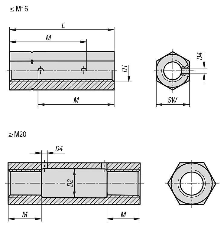 Écrou tendeur forme hexagonale DIN 1479 - Éléments de liaison