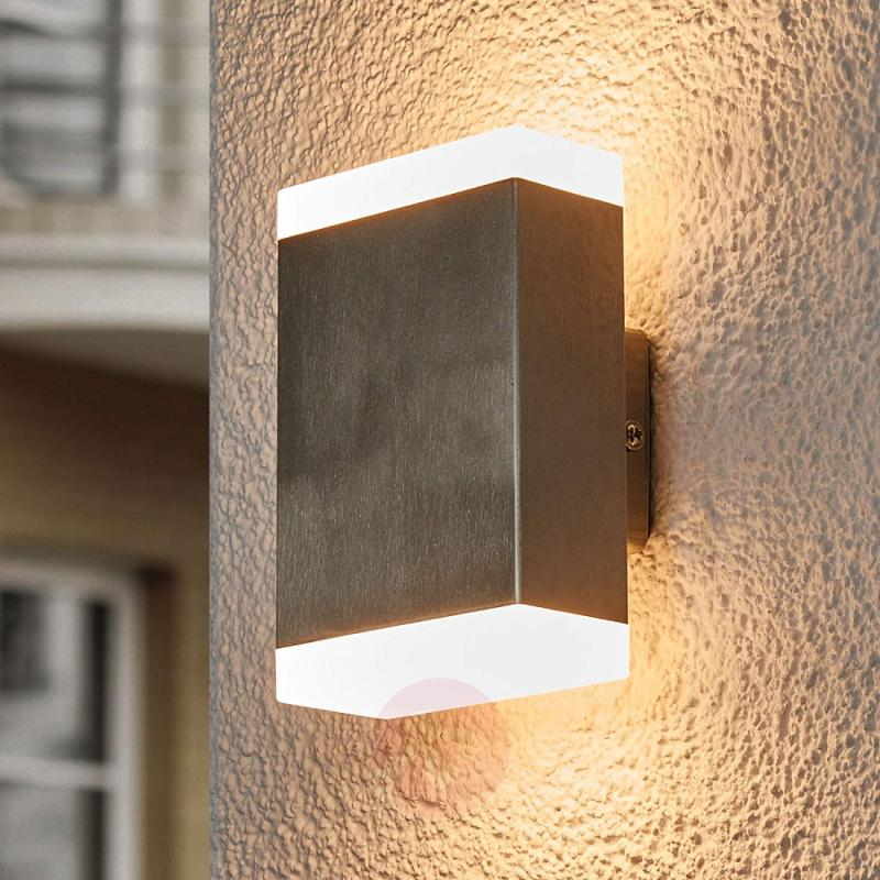 Aya - angular LED wall lamp for outdoor use - stainless-steel-outdoor-wall-lights