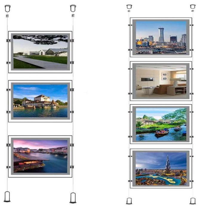 Raamdisplays met LED-verlichting voor makelaars A4 - LED verlichte posterhouders A4