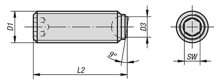 Vis à bille orientable à tête HC en Inox bille avec plat - Vis à bille orientable et inserts à picots