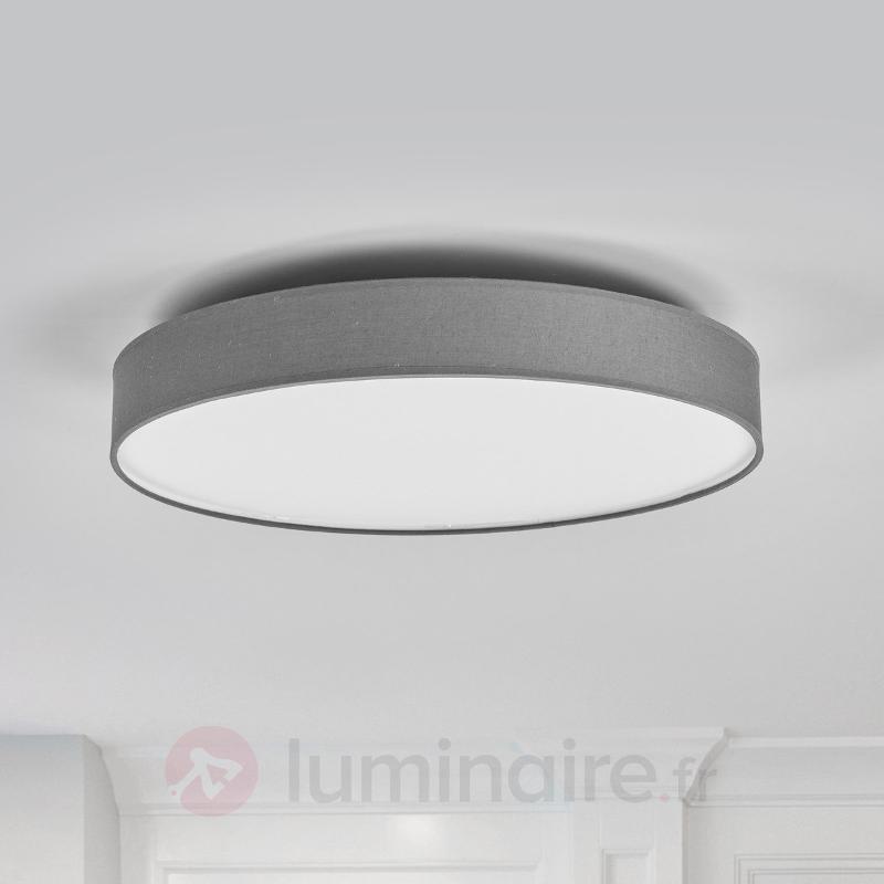 Plafonnier en textile Saira en gris, LED - Plafonniers en tissu