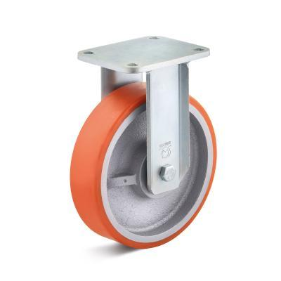 Polyurethane castors for heavy loads up to 2,100 kg - PUZG wheel series in HB housing, heavy welded steel construction, galvanized