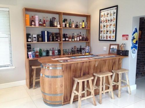 Wine Barrel Home Bar - Natural Oak