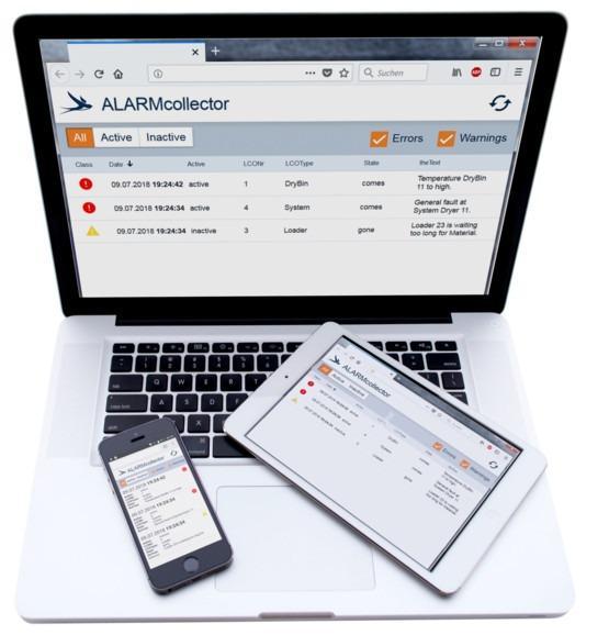 Software de alarme - ALARMcollector - App de alarme para monitoramento digital de sistemas na indústria de plásticos