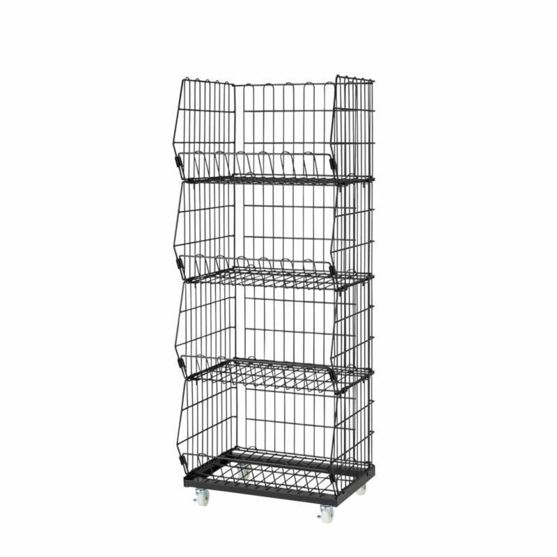 Portable Wire Basket Cart - Mesh Wire baskets on wheels -black/white/steel