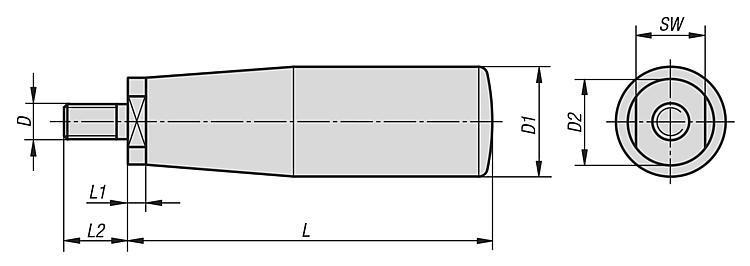 Poignée cylindrique tournante - Volants, manivelles et poignées