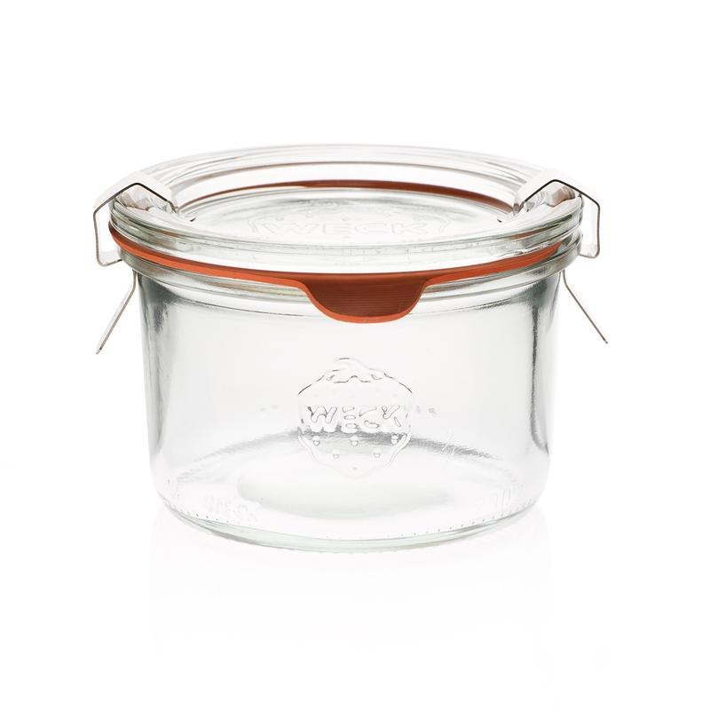 12 bocaux WECK Droits 200 ml avec couvercles en verre et joints (clips non inclu