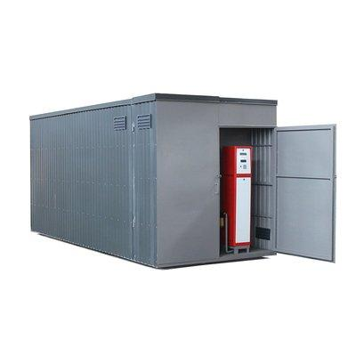 Steel storage and dispensing tank in a container -