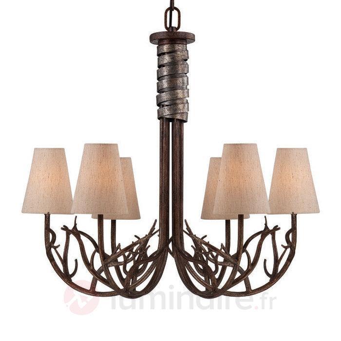 Brambles - lustre aspect bois à six lampes - Lustres rustiques