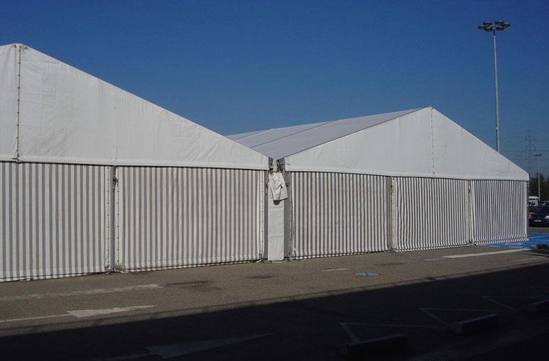 Hangar pour le stockage temporaire - Systèmes de construction démontable - Constructions industrielles