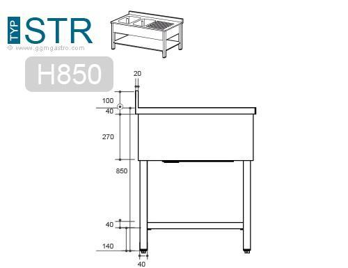 Sink - Sink unit with floor base 1,0 m - 1 sink on right L 40 x B 4