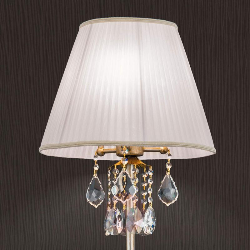 Exclusive fabricFloor lamp Miramare with crystal - design-hotel-lighting