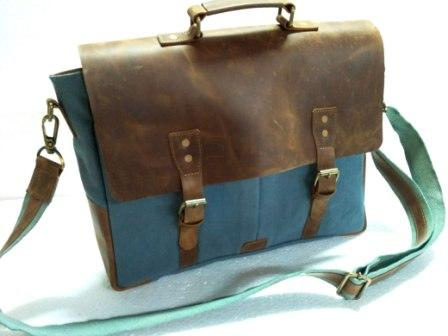 Leather Messenger Bag - Messenger bag With Leather Flap and trim