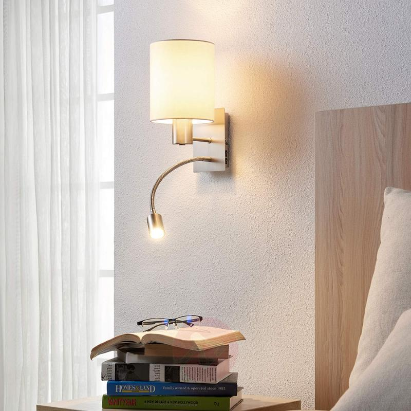 Fabric wall lamp Shajan with LED reading light - indoor-lighting