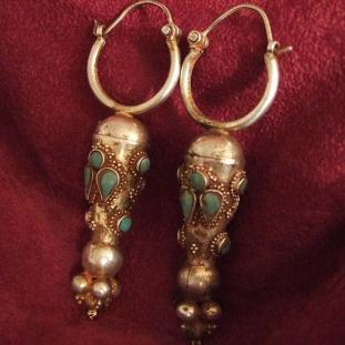 Boucles d'oreilles - Argent, vermeil, turquoises, Iran