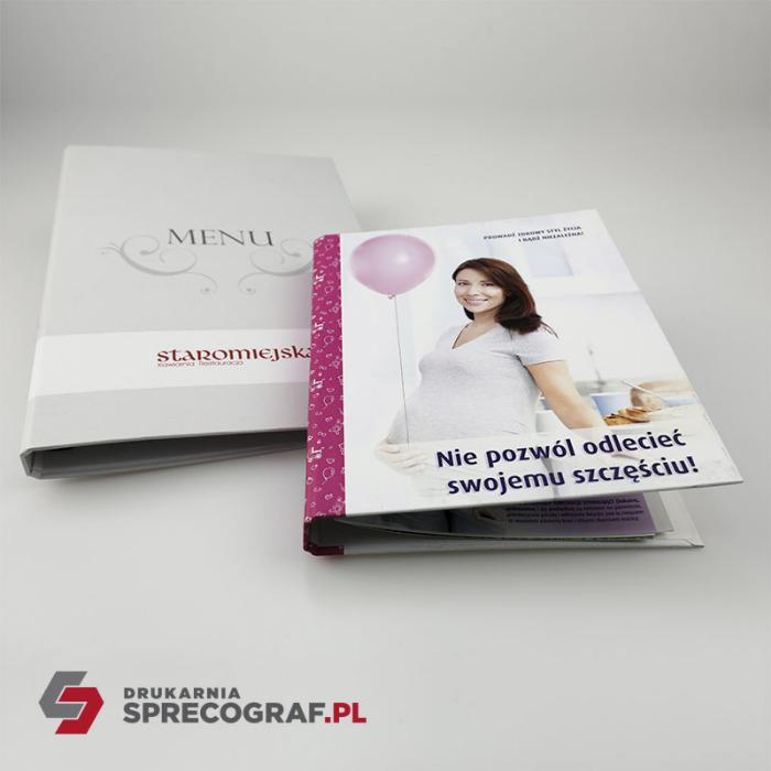 Company and advertising binders - two-ring binders, four-ring binders, graphic designs