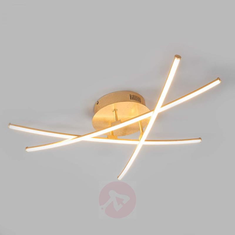 Puristic LED ceiling lamp Yael in gold, 3-bulb