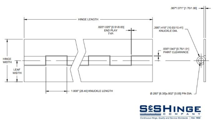 Hinges - 1300 Series - CAD files - 1305x96