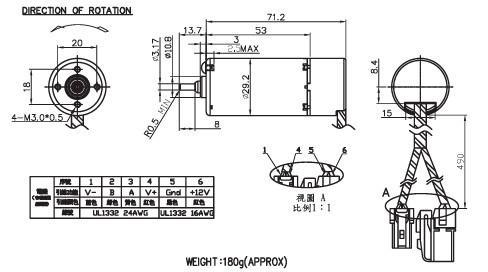 10-14V 30W 6000RPM 29*71 Nichibo RK-2910 DC Motor - car trunk lifting device