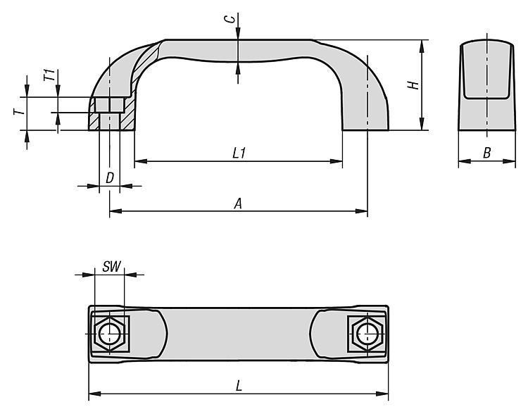 Poignées de manutention résistance aux températures élevées - Poignées de manutention, poignées tubulaires et poignées alcôve