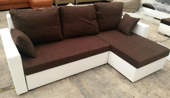 Sofas con chaise longue - De piel, polipiel (piel sintetico) y tapizados con tela