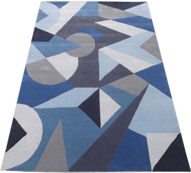 Hand Tufted Rugs, Latexed back with cotton cloth  - NT-001, Geometrical design, Grey/ Blue, Wool Rugs and Carpets