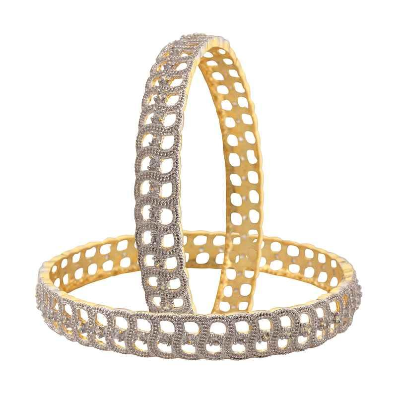 JAB-14 - Zephyrr Fashion Gold Tone Bangle with American Diamonds for Women