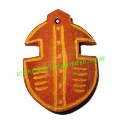 Handmade wooden fancy pendants, size : 45x33x9mm - Handmade wooden fancy pendants, size : 45x33x9mm