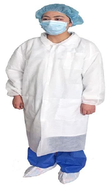 Abrigo de laboratorio de velcro - Material: SMS / PP no tejido Spec: manguito elástico, velcro o botón a presión C
