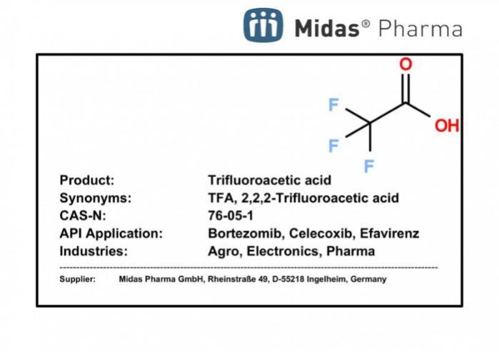 Ácido trifluoroacético - 76-05-1; TFA; Building Block para Bortezomib, Celecoxib, Efavirenz, Lisinopril