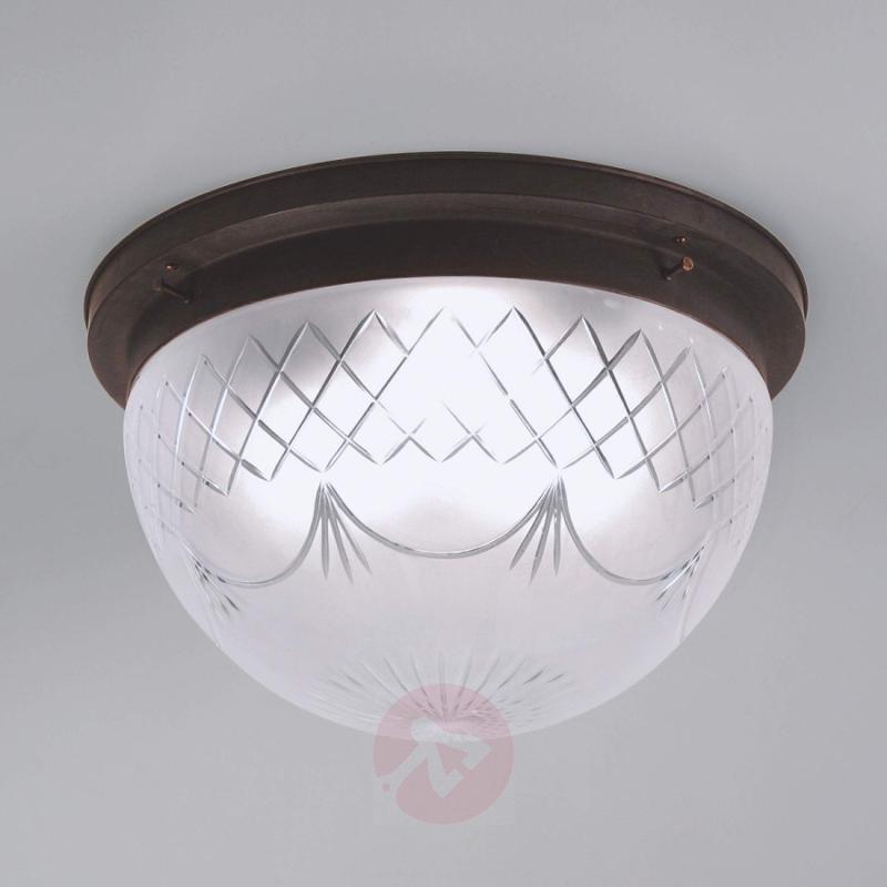 Karolin ceiling light, embellished glass shade - design-hotel-lighting