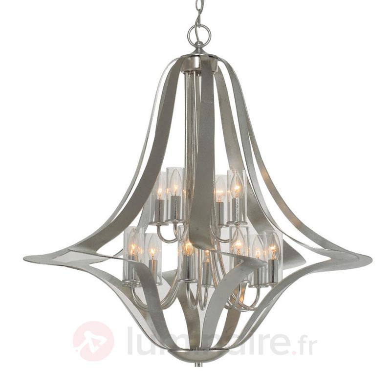 Lustre élégant Spiro à 12 lampes, feuille d'argent - Lustres designs, de style