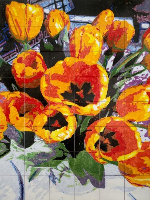 Tulipanes en azulejos - Mural de azulejos pintados a mano