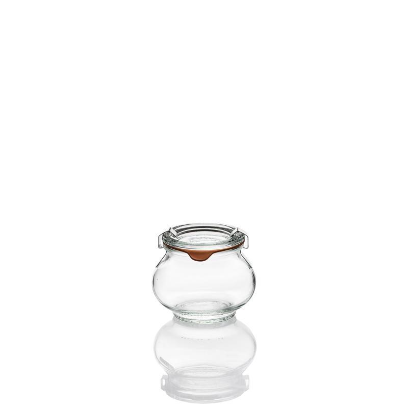 12 vasi in vetro WECK Fête® 220 ml  - con coperchi in vetro e guarnizioni (graffe non incluse)