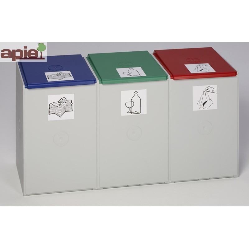 Collecteur triple tri sélectif 3x60 L, avec 3 couvercles - Référence : 3812/C